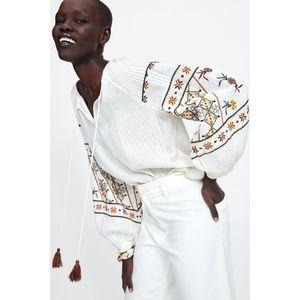 NWT Zara Linen Blend Embroidered Blouse